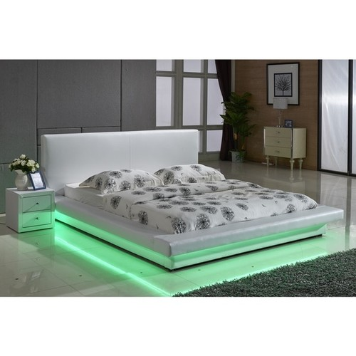 White Leather with LED Decoration Strip Light Contemporary Platform Bed