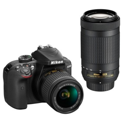 D3400 DSLR Camera with 18-55mm and 70-300mm Lenses (Black)