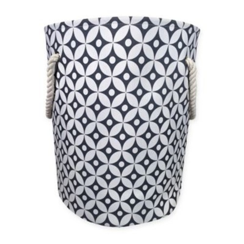 Canvas Fabric Hamper in Grey/White