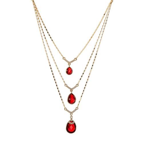 Multi-Row Drop Stone Necklace