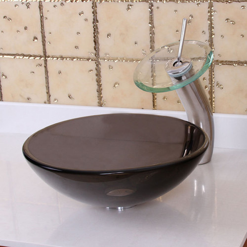Elite Natural Small Clear Brown Tempered Glass Bathroom Sink and Waterfall Faucet