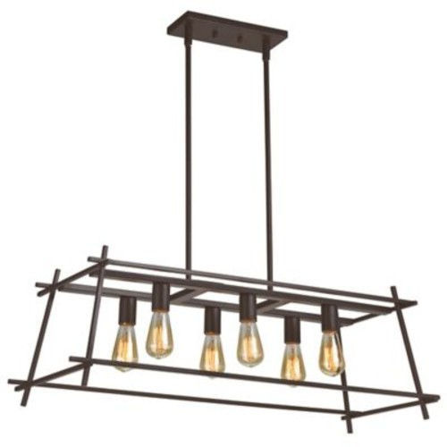 Varaluz Hashtag 6-Light Linear Pendant Light in New Bronze