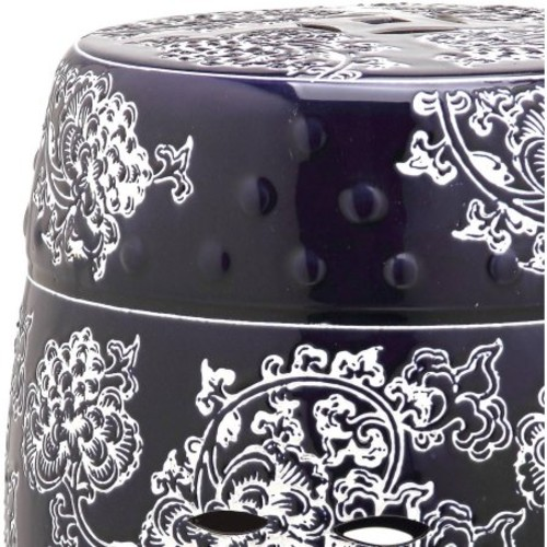 Safavieh Midnight Flower Navy and White Garden Patio Stool