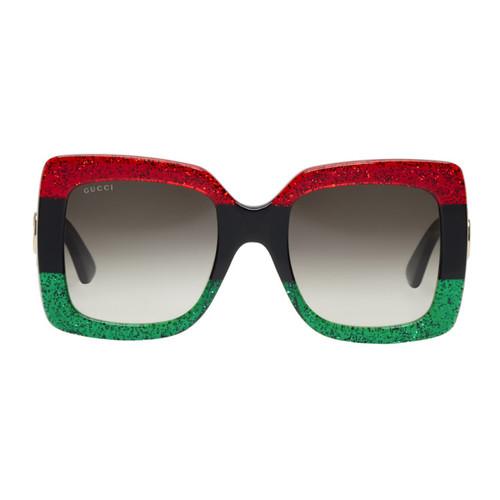 GUCCI Red & Black Oversized Square Sunglasses