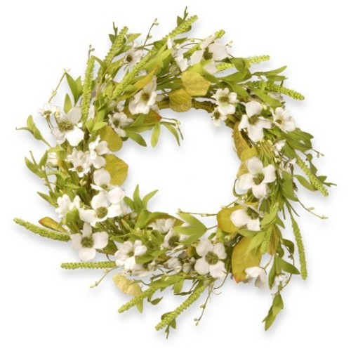Artificial Dogwood Wreath White 22