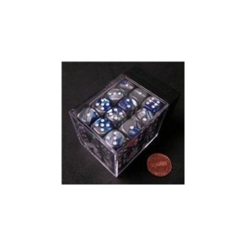 Chessex Manufacturing 26823 D6 Cube Gemini Set Of 36 Dice, 12 mm - Blue & Silver With White Numbering