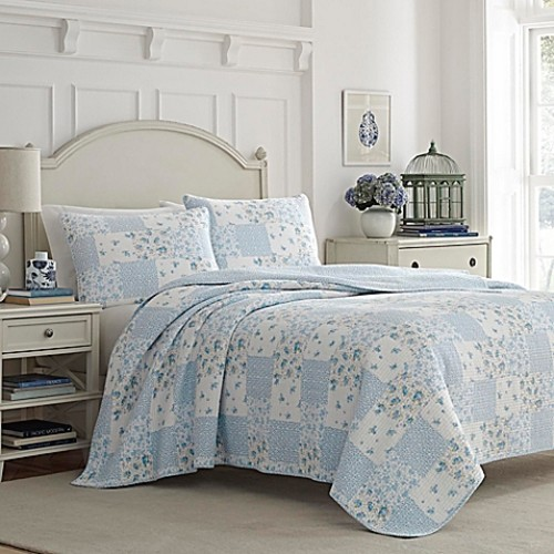 Laura Ashley Kenna Reversible Twin Quilt Set in Light Blue