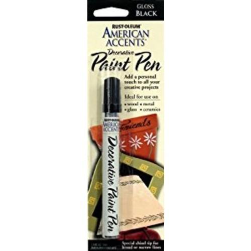 Rust-Oleum 215123 American Accents Satin Decorative Paint Pens, Black, 1/3-Ounce [Black]