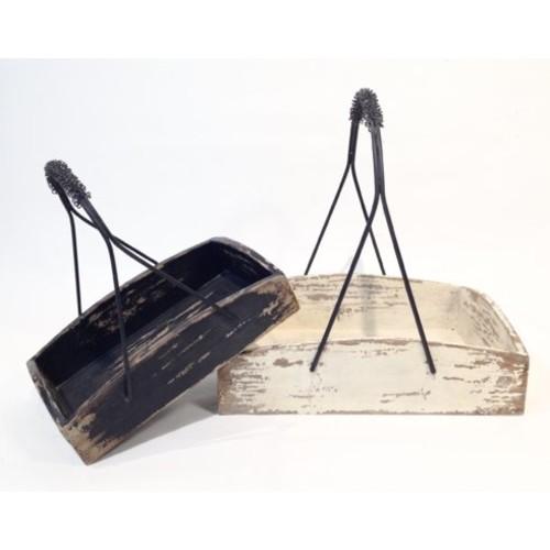 Alexander 2 Piece Iron Handled Wood Tray Basket Set