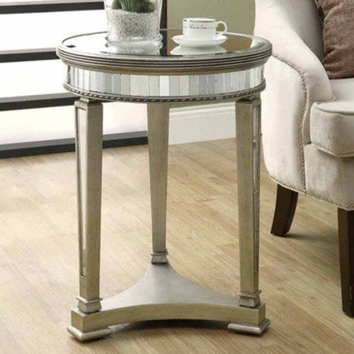 Monarch Specialties 3705 Mirrored Round Accent Table