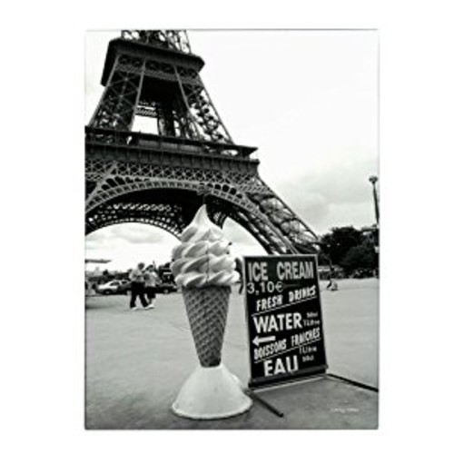 Eiffel Tower with Ice Cream Cone by Kathy Yates, 30x47-Inch Canvas Wall Art