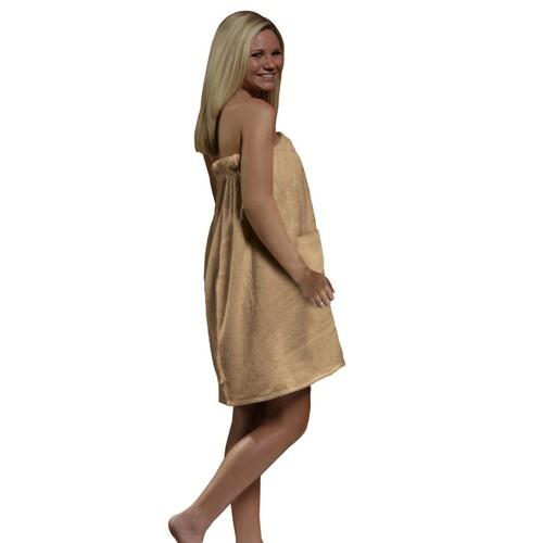 Radiant Saunas Women's Tan Spa and Bath Terry Cloth Towel Wrap