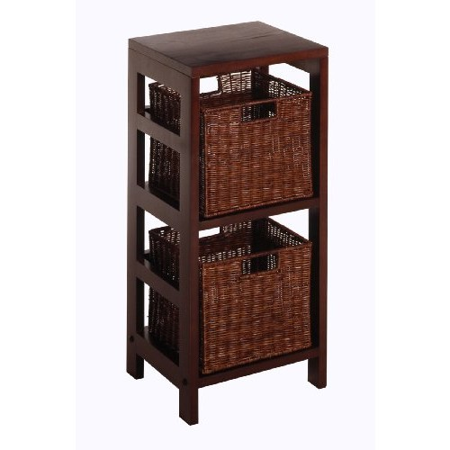 Winsome Wood Leo Wood 2 Tiered Shelf with 2 Rattan Baskets [Espresso, antique walnut basket]