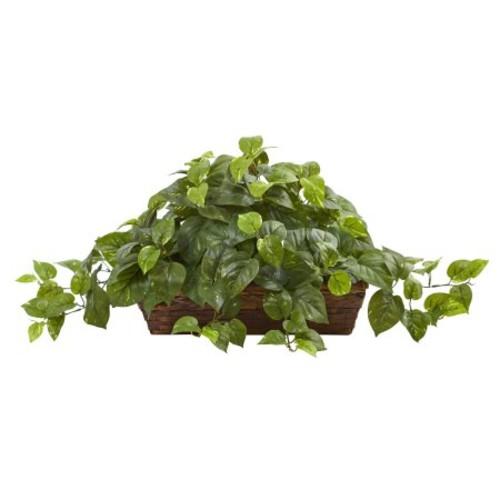 Nearly Natural Artificial Plants Pothos w/Ledge Basket