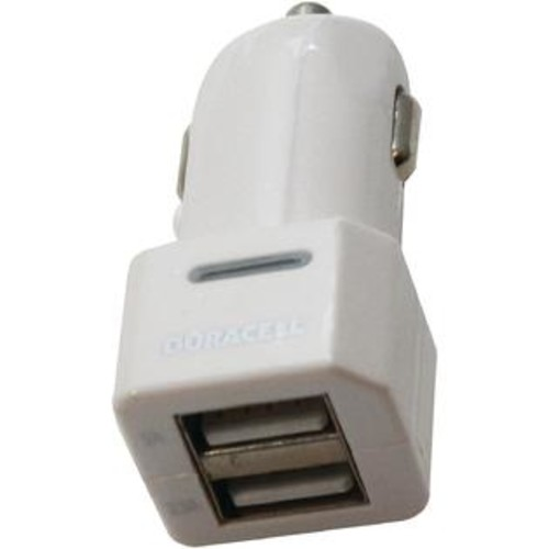 Duracell 3.1-Amp Dual-USB Car Charger (White) - PET