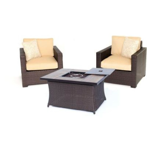 Hanover Metropolitan Brown 3-Piece All-Weather Wicker Patio LP Gas Fire Pit Chat Set with Sahara Sand Cushions