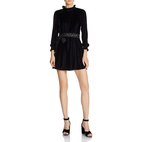 MAJE Orilea Smocked-Detail Self-Tie Sash Mini Dress