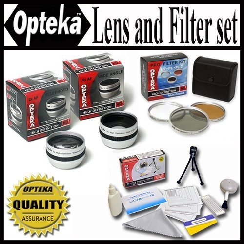 Opteka HD2 Professional Lens & Filter Set For JVC Everio GZ-MG330 GZ-MG365 GZ-MG360 JVC GZ-HD3 GZ-MG555 MG730 GZ-HD6 GZ-HD5 & Canon HG10 HV20 HV30 30.5mm Package Includes 2X Telephoto Lens, 0.5X Wide Angle Lens With Macro, 3 Piece Filter Kit UV, PL, FLD + Extras