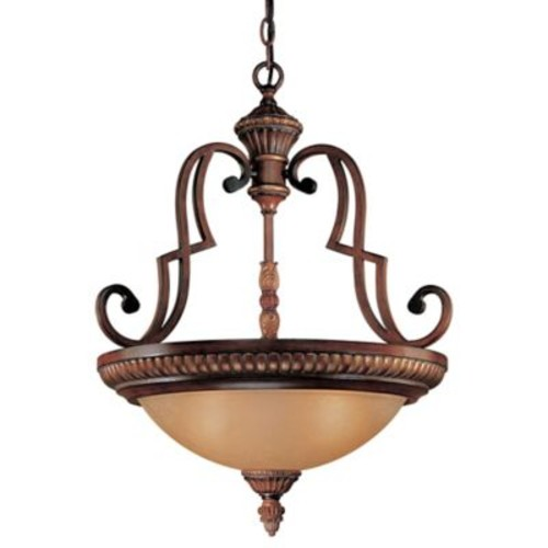 Minka Lavery Belcaro 3-Light Pendant Light in Walnut with Aged Champagne Glass Shade