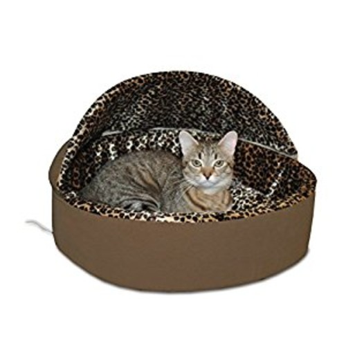 K&H Pet Products Thermo-Kitty Bed Deluxe Hooded Heated Cat Bed - 4 Watts MET Safety Listed [Mocha Leopard, Small]