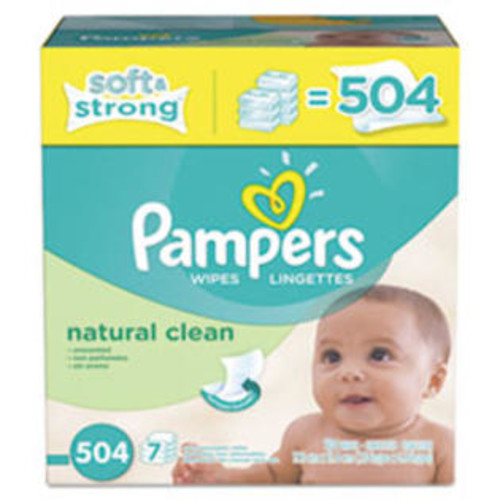 Pampers Natural Clean Baby Wipes, Unscented, White, Cotton, 504/Carton