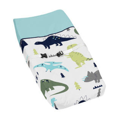 Sweet Jojo Designs Blue/Green Mod Dinosaur Collection Changing Pad Cover