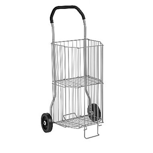 Honey-Can-Do 2-Tier Steel Wire Rolling All-Purpose Cart in Gray