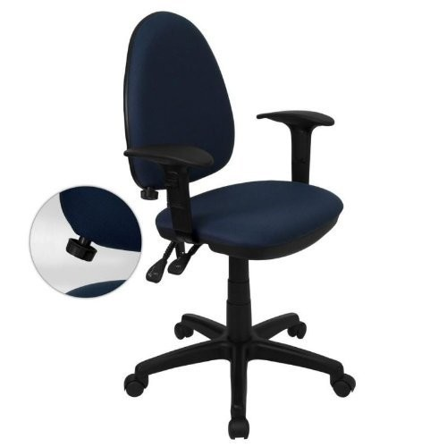 Mid-Back Fabric Multi-Functional Drafting Stool with Adjustable Lumbar Support Navy blue/Arms
