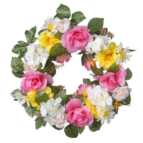 National Tree Company 18 in. Decorated Wreath with Roses and Daisies