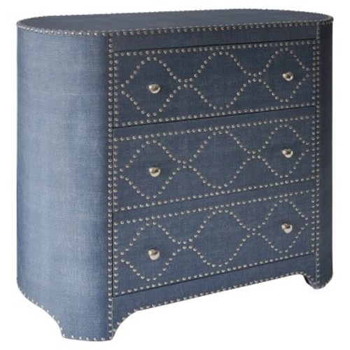 3 Drawer Oval - Shaped Cabinet with Chrome Nailhead Trim - Blue - Stylecraft