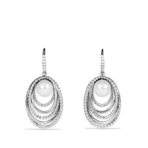 Pearl Crossover Drop Earrings with Diamonds