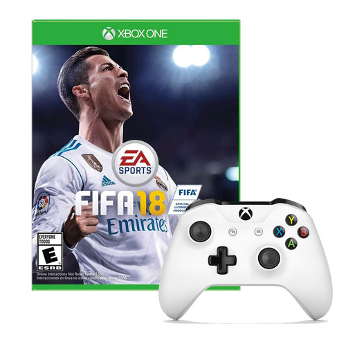 Microsoft Xbox One Controller in White with Fifa 18 Game
