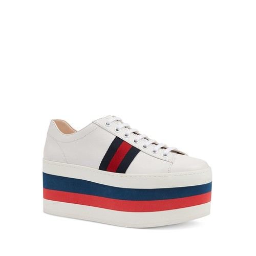 GUCCI Peggy Platform Low Top Lace Up Sneakers