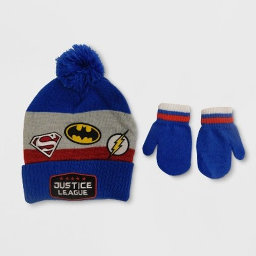 Justice League Toddler Boys' Hat and Mitten Set