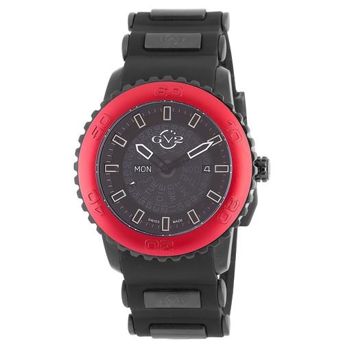 GV2 Mens Aurora Analog Display Quartz Black Watch with Red Bezel