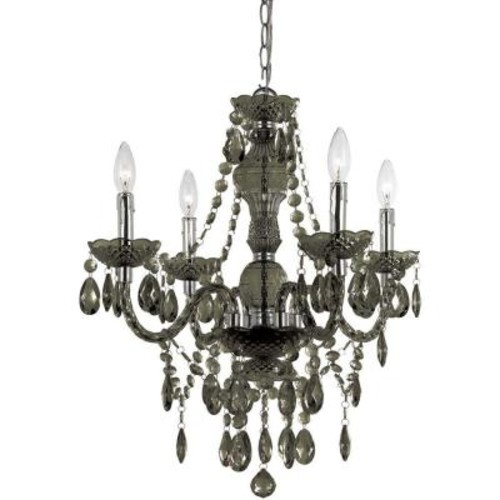 AF Lighting Naples 4-Light Chrome Mini Chandelier with Smoke-Colored Plastic Bead Accents