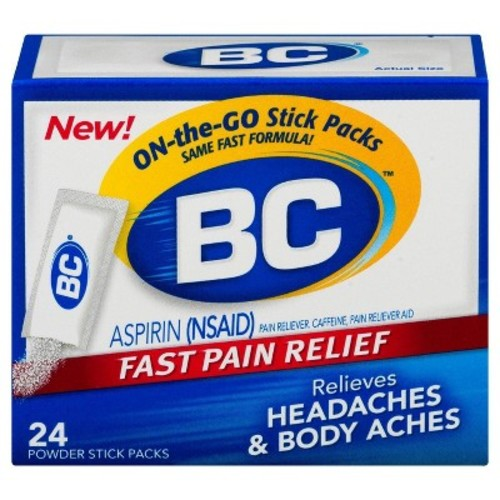 BC Aspirin Fast Pain Relief Powder - Quickly Relieves Pain Due to Headaches, Body Aches, and Fever - Contains Caffeine - 24 Powders [24 COUNT, Original]