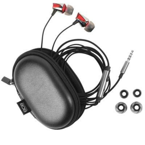 Voxx HPA85 EQ Stereo In-Ear Earbud with Mic, Red