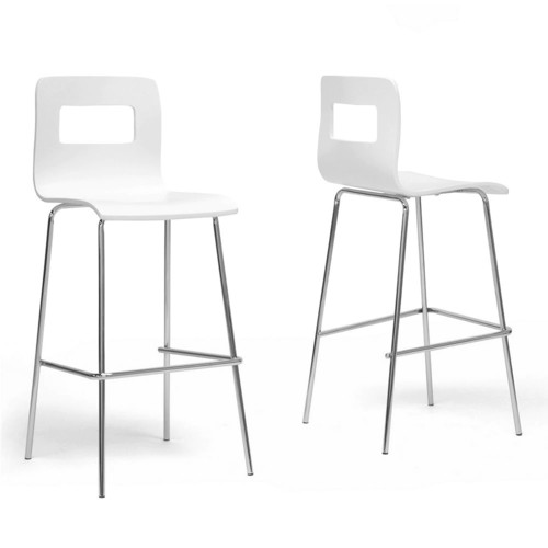 Baxton Studios Set of 2 Greta White Modern Bar Stools