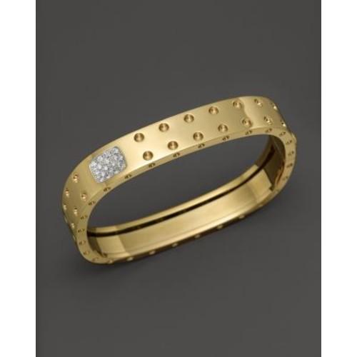 18K Yellow Gold Pois Moi Double Row Diamond Bangle