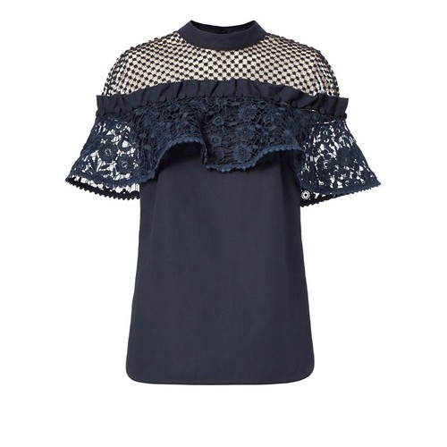 SELF-PORTRAIT Hudson Poplin Lace Top