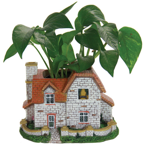 6-inch Multicolored Resin Cottage Planter