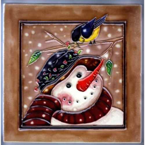 Continental Art Center Snowman With Brown Background Tile Wall D cor