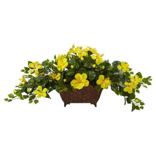 Hibiscus in Metal Planter Yellow - Nearly Natural
