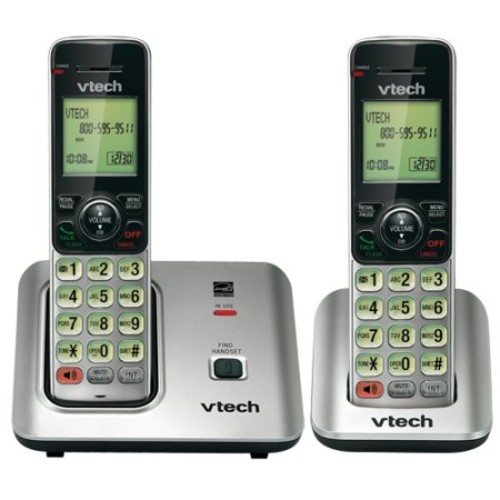 VTech CS6619-2 DECT 6.0 Expandable Cordless Phone with Caller ID/Call Waiting, Silver with 2 Handsets - Cordless - 1 x Phone Line - 1 x Handset - Speakerphone - Hearing Aid Compatible - Backlight
