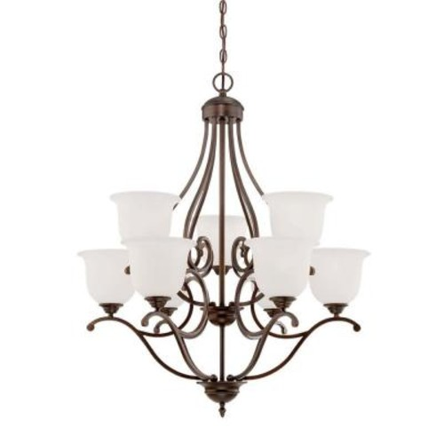 Millennium Lighting 9-Light Rubbed Bronze Chandelier with Etched White Glass