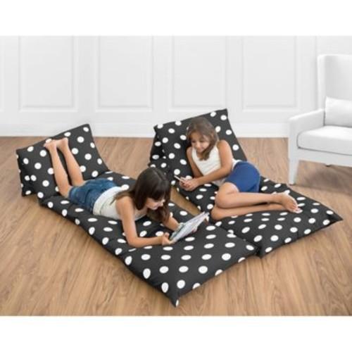 Sweet Jojo Designs Hot Dot Floor Pillow Lounger Cover in Black/White