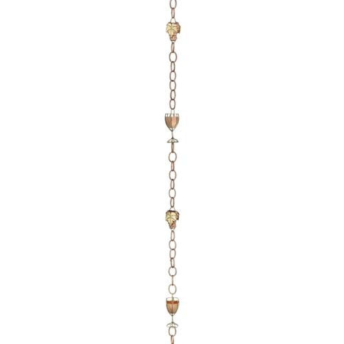 Good Directions Wine and Glasses Pure Copper 8.5 ft. Rain Chain