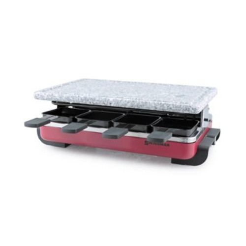 Swissmar 8-Person Classic Raclette Party Grill with Granite Stone in Red