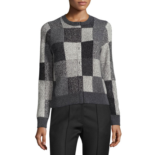 MARC JACOBS Intarsia Faux-Placket Patchwork Sweater, Gray